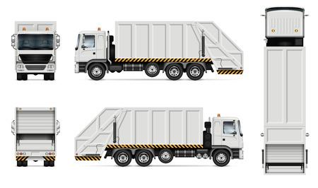 Realistyczna biała śmieciarka wektor makieta. Na białym tle szablon ciężarówki wywrotki na białym tle dla marki pojazdu, tożsamości korporacyjnej. Widok z prawej strony, łatwy do edycji i ponownego kolorowania.