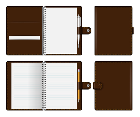 Realistic brown notebook mockup for branding and corporate identity. Notepad with pencil and pen isolated vector illustration on white background Ilustrace