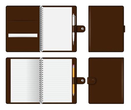 Realistisches braunes Notebook-Modell für Branding und Corporate Identity. Notizblock mit Bleistift und Kugelschreiber lokalisierte Vektorillustration auf weißem Hintergrund