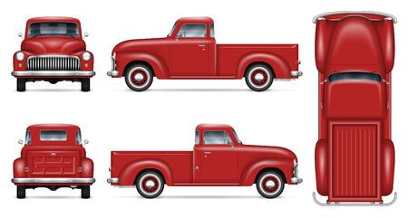 Maqueta de vector de coche retro sobre fondo blanco. Vista de camioneta pickup roja aislada de lado, frente, atrás, arriba. Todos los elementos de los grupos en capas separadas para facilitar la edición y el cambio de color.