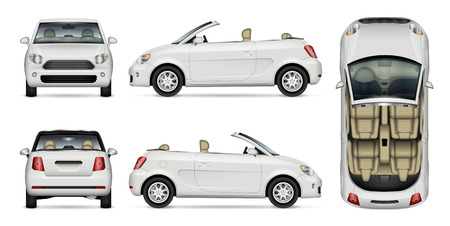 convertible car vector mockup on white for vehicle branding, corporate identity. View from side, front, back, and top. All elements in the groups on separate layers for easy editing and recolor.