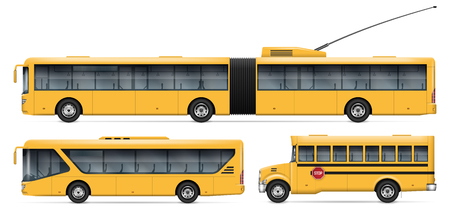 City transport vector mockup for vehicle branding, advertising, corporate identity. Isolated buses on white background. All elements in the groups on separate layers for easy editing and recolor. Illustration