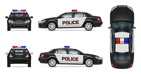 Maqueta de vector de coche de policía sobre fondo blanco, vista lateral, frontal, posterior y superior. Todos los elementos de los grupos en capas independientes para editarlos y cambiar el color fácilmente