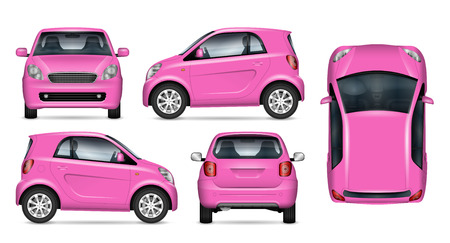 Pink little car vector mockup on white for vehicle branding, corporate identity. View from side, front, back, and top. All elements in the groups on separate layers for easy editing and recolor