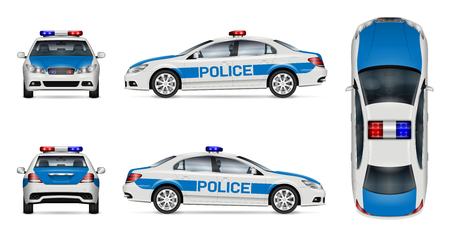 Police car vector mockup on white background, view from side, front, back and top. All elements in the groups on separate layers for easy editing and recolor