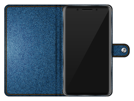 Realistic smartphone in blue denim case isolated vector illustration on white background. Mobile phone mockup with blank screen. Illustration