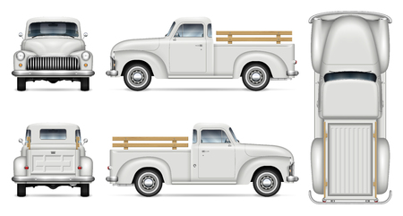Altes LKW-Vektormodell auf weißem Hintergrund. Isolierte Vintage weiße Pickup-Ansicht von der Seite, von vorne, von hinten, von oben. Alle Elemente in den Gruppen auf separaten Ebenen zum einfachen Bearbeiten und Umfärben.