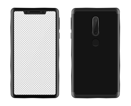 Realistic smartphone mockup on white background isolated vector illustration. Black phablet with blank screen view from front and back Illustration