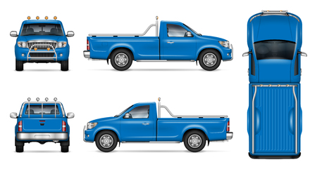 Blue pickup truck vector mockup on white background for vehicle branding, corporate identity. View from side, front, back, and top. All elements in the groups on separate layers for easy editing
