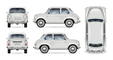 Mały retro samochód wektor makieta na białym tle. Na białym tle szablon minisamochodu do brandingu pojazdu, reklamy i identyfikacji wizualnej. Wszystkie elementy w grupach na osobnych warstwach dla łatwej edycji