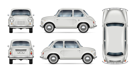 Maqueta de vector de coche retro pequeño sobre fondo blanco. Plantilla aislada de minicar para marca de vehículos, publicidad e identidad corporativa. Todos los elementos de los grupos en capas independientes para facilitar la edición