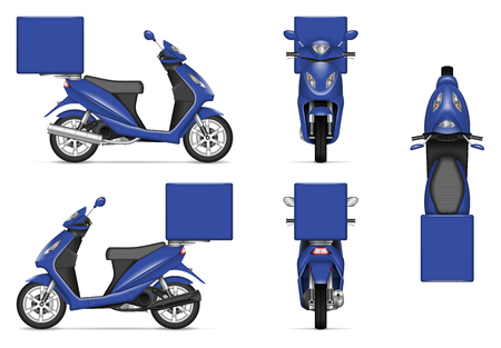 Delivery motorcycle vector mockup for vehicle branding, advertising, corporate identity. Isolated template of realistic blue scooter on white background. All elements in the groups on separate layers Illustration