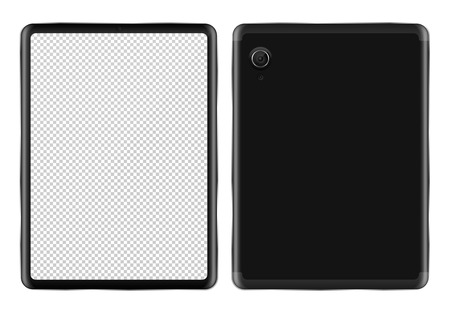 Realistic tablet PC mockup on white background isolated vector illustration. Black mobile device with blank screen view from front and back