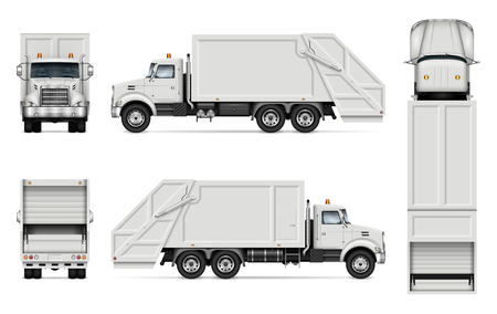 Garbage truck vector mockup for vehicle branding, advertising, corporate identity. Isolated template of realistic waste lorry on white background. All elements in the groups on separate layers Ilustrace