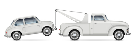 Retro tow truck towing a small car, view from side. Roadside assistance lorry with vintage car on white background. All elements in the groups on separate layers for easy editing and recolor.