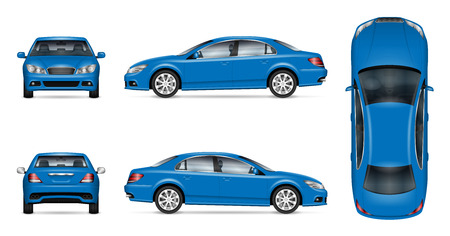 Blue car vector mockup for vehicle branding, advertising, corporate identity. Isolated template of realistic sedan on white background. All elements in the groups on separate layers for easy editing