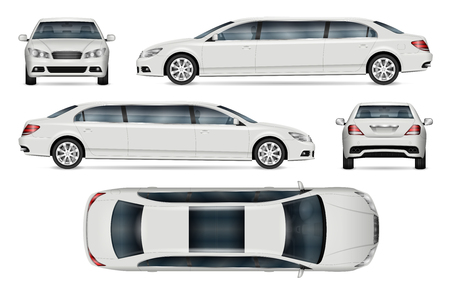 limousine vector mockup for vehicle branding, advertising, corporate identity. Isolated template of realistic car on white background. All elements in the groups on separate layers Illustration