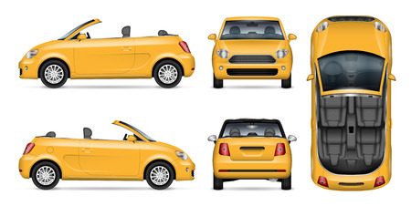 Yellow car vector mockup for vehicle branding, advertising, corporate identity. Isolated template of realistic convertible automobile on white background. All elements in the groups on separate layers Illustration