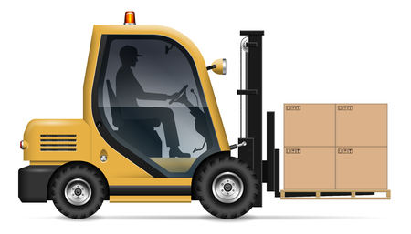 Realistic forklift with carton boxes on white background. Warehouse worker driving a lift truck, side view. All elements in the groups on separate layers for easy editing and recolor