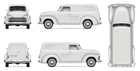 Retro-Lieferwagen-Vektormodell für Fahrzeugbranding, Werbung, Unternehmensidentität. Isolierte Vorlage des realistischen alten LKW auf weißem Hintergrund. Alle Elemente in den Gruppen auf separaten Ebenen