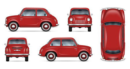 Small retro car vector mockup on white background. Isolated template of the red minicar for vehicle branding, advertising and corporate identity. All elements in the groups on separate layers