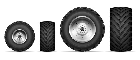 Truck and tractor wheels isolated on white background Illustration