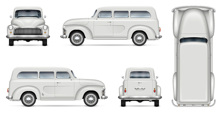 Retro mini van vector mockup for vehicle branding, advertising, corporate identity. Isolated template of realistic old truck on white background. All elements in the groups on separate layers
