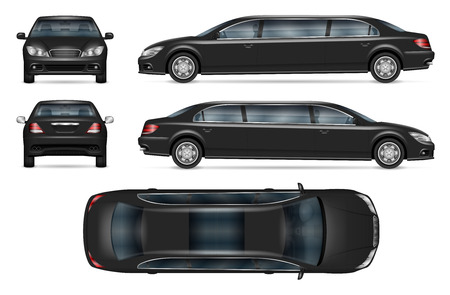 Black limousine vector mockup for vehicle branding, advertising, corporate identity. Isolated template of realistic car on white background. All elements in the groups on separate layers