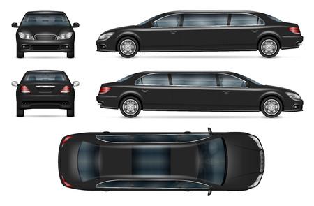 Schwarzes Limousinen-Vektormodell für Fahrzeugbranding, Werbung, Unternehmensidentität. Isolierte Vorlage des realistischen Autos auf weißem Hintergrund. Alle Elemente in den Gruppen auf separaten Ebenen