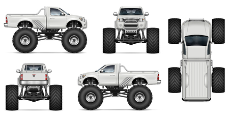 Monster truck vector mockup for vehicle branding, advertising, corporate identity. Isolated template of realistic big car on white background. All elements in the groups on separate layers