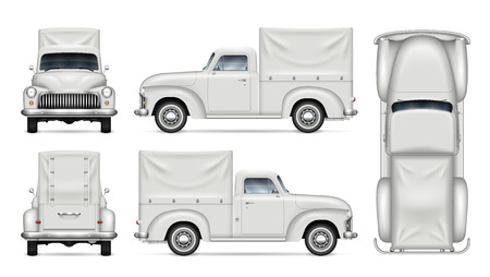 Old delivery van vector mockup on white background. Isolated vintage truck view from side, front, back, top. All elements in the groups on separate layers for easy editing and recolor.