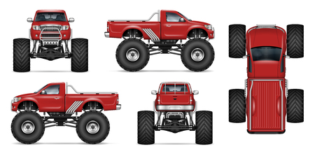 Red monster truck vector mockup for vehicle branding, advertising, corporate identity. Isolated template of realistic big car on white background. All elements in the groups on separate layers