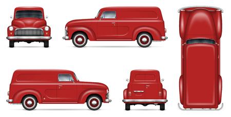 Maquette vectorielle de camionnette de livraison rétro pour la marque de véhicule, la publicité, l'identité d'entreprise. Modèle isolé de vieux camion réaliste sur fond blanc. Tous les éléments des groupes sur des calques séparés