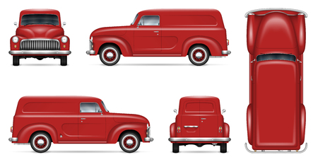 Retro delivery van vector mockup for vehicle branding, advertising, corporate identity. Isolated template of realistic old truck on white background. All elements in the groups on separate layers