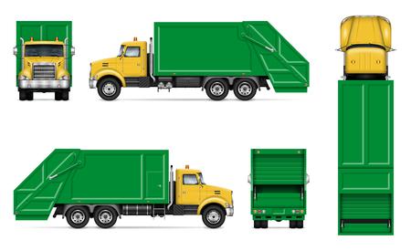 Maquette de vecteur de camion à ordures blanc réaliste. Modèle isolé de camion à benne basculante sur fond blanc pour la marque de véhicule, l'identité d'entreprise, facile à éditer et à recolorer. Vecteurs