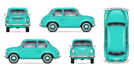 Small retro car vector mockup on white background. Isolated template of the classic minicar for vehicle branding, advertising and corporate identity. All elements in the groups on separate layers