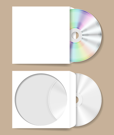 CD DVD compact disk in white paper cover vector illustration