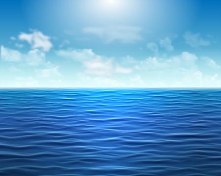 Fond de mer bleu réaliste avec des vagues et du soleil sur le ciel Vecteurs