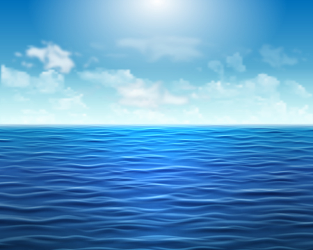 Realistic blue sea background with waves and sun on the sky