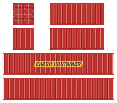 Maqueta de vector de contenedor de carga sobre fondo blanco con vista lateral, frontal, posterior y superior. Todos los elementos de los grupos en capas independientes para editarlos y cambiar el color fácilmente