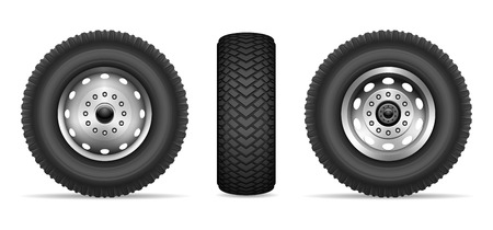 Truck wheels isolated on white background