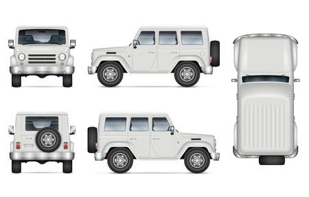 차량 브랜딩, 광고, 기업 아이덴티티를 위한 SUV 자동차 벡터 모형. 흰색 바탕에 현실적인 오프로드 트럭의 고립 된 템플릿입니다. 별도 레이어에 있는 그룹의 모든 요소 벡터 (일러스트)