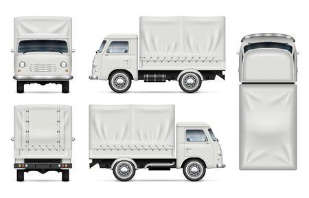 Realistisches altes LKW-Vektormodell. Isolierte Vorlage des Lieferwagens auf Weiß für Fahrzeugbranding, Corporate Identity. Ansicht von links, rechts, vorne, hinten und oben, einfache Bearbeitung und Neufärbung.
