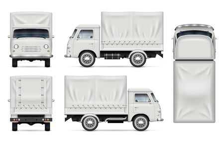 Realistic old truck vector mockup. Isolated template of the van on white for vehicle branding, corporate identity. View from left, right, front, back, and top sides, easy editing and recolor. Illustration