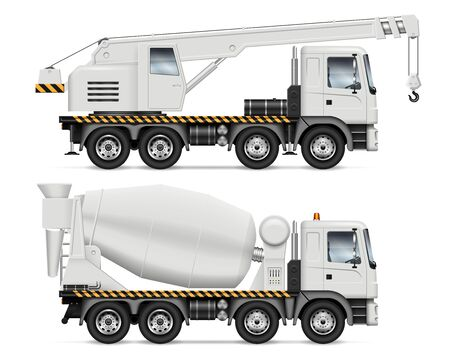Crane and mixer trucks with view from side isolated on white background. Construction vehicles set vector mockup, easy editing and recolor.
