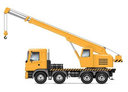 Ciężarówka żurawia z widokiem z boku na białym tle. Makieta wektora pojazdu budowlanego, łatwa edycja i ponowne kolorowanie.