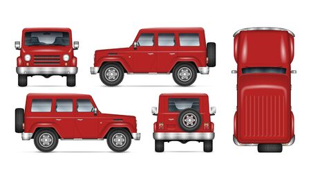 Red SUV car vector mockup for vehicle branding, advertising, corporate identity. Isolated template of realistic offroad truck on white background. All elements in the groups on separate layers Stock Illustratie