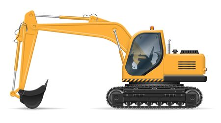 Yellow excavator with view from side isolated on white background. Construction vehicle vector mockup, easy editing and recolor Illusztráció
