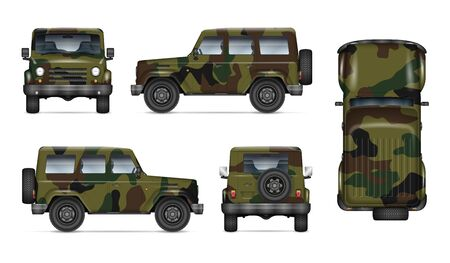 Army truck isolated vector mockup on white background. Military car with view from left, right, front, back, and top sides. All elements in the groups on separate layers for easy editing and recolor