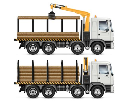 Logging truck side view isolated on white background. Forestry and wood production vehicle vector mockup. All elements in the groups on separate layers for easy editing and recolor Stock Illustratie